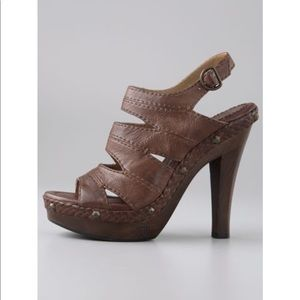 FRYE | cognac leather studded wooden heels sandals